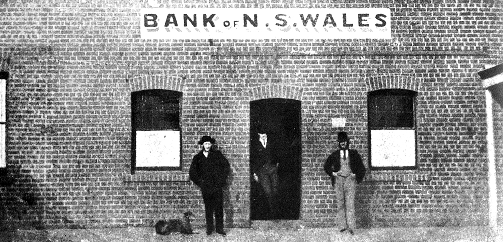 The Bank of New South Wales staff, from left, Mackie (clerk), Living (accountant) and Tarleton (manager). Image: Westpac Historical Services