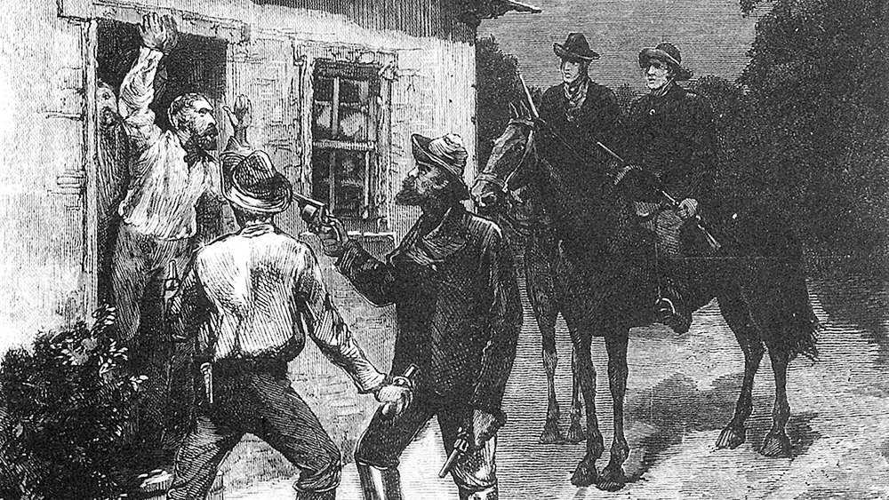 The Jerilderie police bailed up by the Kelly Gang as imagined by the Illustrated Australian News. Near midnight on a Saturday, Ned lured them outside with calls of murder at a local pub. For the next two days, the Gang occupied the police station as a base for their hold-up. Image: La Trobe Collection, State Library of Victoria