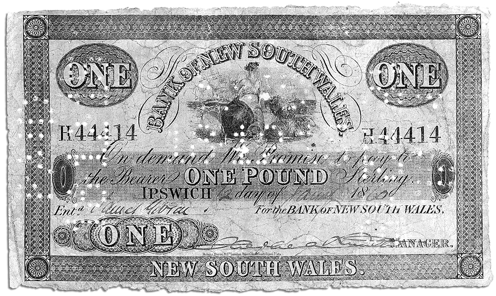 Bank of New South Wales notes like these helped make up the Kelly Gang's haul of £2141. Similar notes smelling of earth soon started to appear all over north-eastern Victoria. Image: Westpac Historical Services