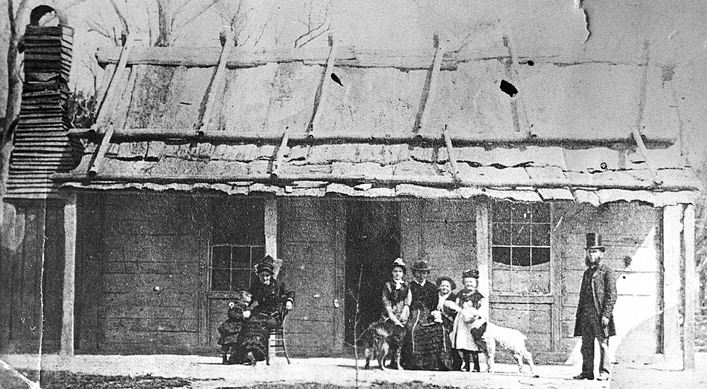 Ellen Kelly's eventual release from prison was celebrated by this photograph taken at the Kelly homestead in early 1881. Image: Max Brown