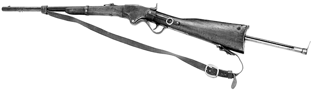 Spencer repeating carbine like the one specially borrowed by Sergeant Kennedy for the Kelly expedition. It loaded seven .52 calibre bullets in a tube that was inserted in the butt. The Spencer was used by Constable Scanlon in the Stringybark Creek gun battle and later became a key weapon in the Kelly Gang's armoury.