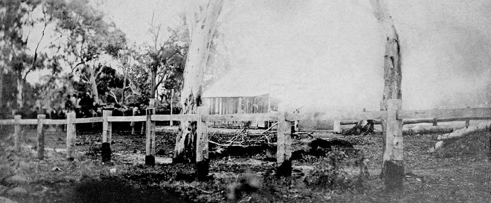 The burning shell of the Glenrowan Inn just before it collapsed. The bodies of Dan Kelly and Steve Hart were incinerated in one of the back rooms. Image: La Trobe Collection, State Library of Victoria.