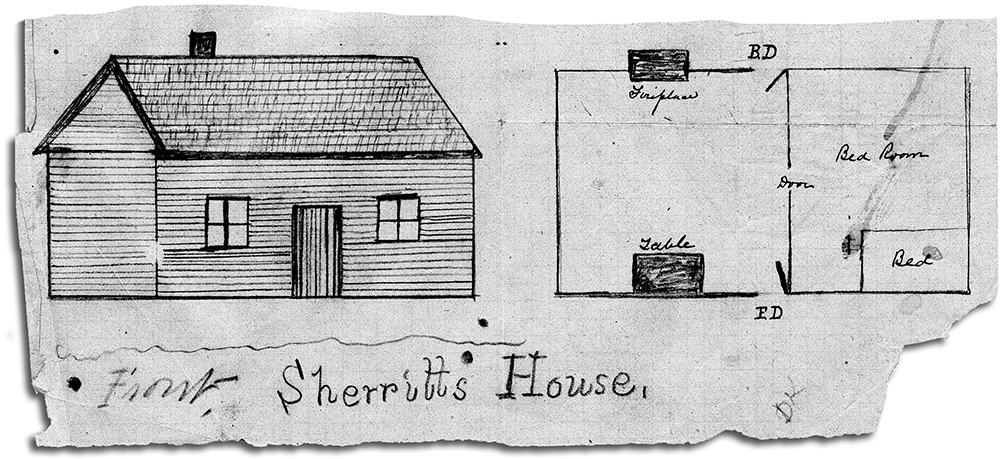 The ground plan of the murder hut, sketched by a member of the Kelly Royal Commission in 1881. Image: Victoria Public Record Office