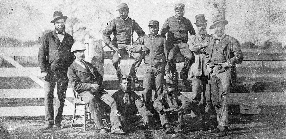 Aboriginal Mounted Police, usually described as 'blacktrackers', pose at Benalla with, from left, Senior Constable King, Stanhope O'Connor, Superintendent Sadleir and Chief Commissioner Standish. The Aboriginal troopers were the only police pursuers Ned truly feared, referring to them as 'six little demons'. Private collection Inset, Sub-Inspector Stanhope O'Connor of the Queensland police who led the party of Aboriginal Mounted Police. Image: Victoria Police Historical Unit